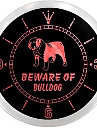 Beware of Bulldog Display Dog Neon Sign LED Wall Clock