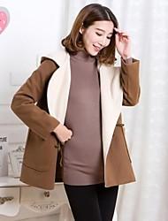 Мода материнства сократился теплый длинное пальто