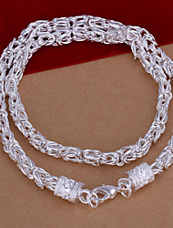Fashion Geometric Shape Silver Plated Copper Foreign Trade Necklace For Mens(Silver)(1Pc)