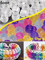 ca. 100pcs gemischt Zufalls uv Farbwechsel 6x8mm Pony Perlen Regenbogen Farbe Webstuhl Gummibänder Armband