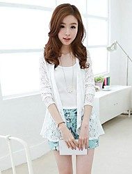 Women's Lace Long Sleeve Cardigan , Lace/Polyester Translucent