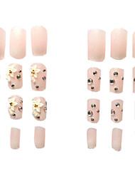 24PCS Sweet Rhinestone Flower Nude Color Sparkly False Nail Art Tips