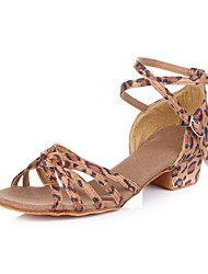 "Women's Kids' Latin Satin Sandal Buckle Cuban Heel Leopard 1"" - 1 3/4"" Non Customizable"