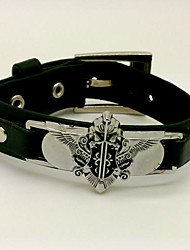 Black Butler Charles Grey Punk Style Black PU Cosplay Bracelet