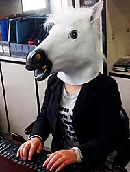 cabeza de caballo vívida látex natural blanco de halloween máscara