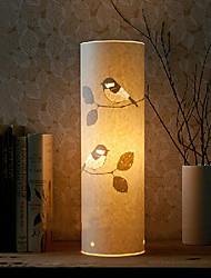 1 lámpara de pie de estilo rústico luz 220v pantalla de patrón de aves de pergamino