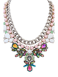 Women's EU&US Luxurious Layers Colorful Flowers Bib Statement Necklace