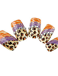 24PCS Fashion Golden Leopard-Print Rhinestone Nail Art Tips With Nail Glue&Nail File