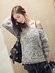 женщин вскользь круглый воротник свободно пуловеры свитер
