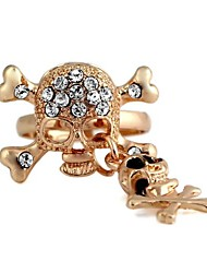 Pirate Skull Pattern Metal With Artificial Diamond Adjustable Rings (1Pc)