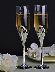 Personalized Toasting Flutes Double Diamond Ring- Set of 2