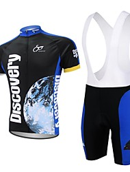 XAOYO Men's Cycling Jersey + Bib Shorts Breathable Polyester Short Sleeve Cycling Bib Suit-Dark Blue+Black