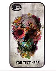 gepersonaliseerd geval schedel en bloem ontwerp metalen behuizing voor de iPhone 4 / 4s
