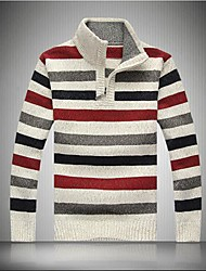 Men's Collar Stripe Recreational Sweater
