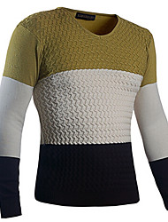 George Men's Foreign Trade Hot Sale Fashion Contrast Color Joint V-neck Knitwear Sweater