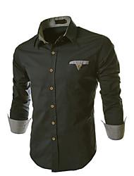 wollen Männer Langarmshirt slim Revers Neck Shirts