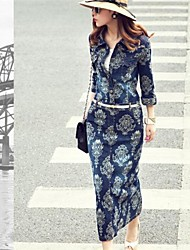 Women's Print Blue Denim Dress,¾ Sleeve