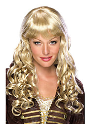 Gentle Office Lady Long Curly Golden 55cm Women's Halloween Party Wig