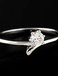 Women's Fashion Simple Design 18K Gold Zircon Ring