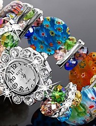 Mulheres Relógio de Moda Quartz Plastic Banda Brilhante / Bracelete Cores Múltiplas marca-