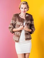 zijindiao® Frauen aus echtem Spitze Spleißen Rabbit Fur Coat