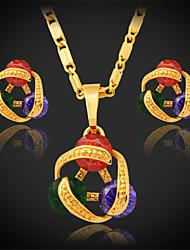 U7 High Quality Multi Color Pendant Necklace Earrings Set