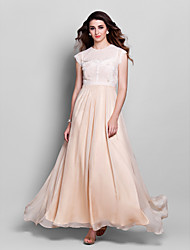 TS Couture Prom Formal Evening Military Ball Dress - Elegant Sheath / Column Jewel Floor-length Chiffon Lace with Appliques Lace