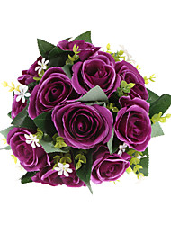 Elegance Purple Polyester Rose Wedding Bridal Bouquet