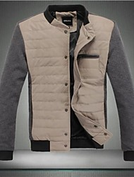 Men's New High Quality Warm Simple Style Winter Casual Patchwork Long Sleeve Outwear Jacket