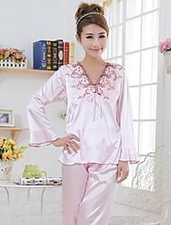 longue mode de douille et le sexe et la broderie de soie imité pyjama en tissu ensemble des femmes furuixiang®