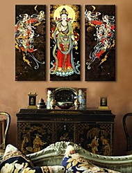 Personalized Canvas Prin The Figure Of Buddha 24x70cm  30x90cm  33x100cm Framed Canvas Painting Set of 3