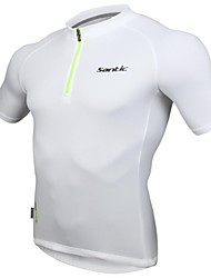 SANTIC Cycling Tops / Jerseys Men's Bike Breathable / Reflective Strips Short Sleeve High Elasticity Polyester Solid WhiteS / M / L / XL