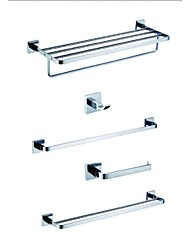 Bath Accessory Set-Robe Hook , Single Towel Bar, Double Towel Bar and Toilet Roll Holder,Bathroom Shelf With Towel Bar