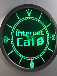 nc0280 Internet Cafe Shop Neon Sign LED Wall Clock