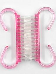2 em um plástico rosa arte alça prego escova limpador de poeira ferramenta manicure pedicure