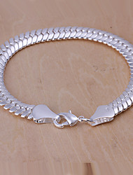Original Cool Fashion Men's Oblate Snake  Silver Plated Brass Chain & Link  Bracelets(Silver)(1pc)