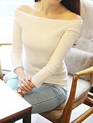 Women's Solid Blue/White/Black T-shirt , Off Shoulder ¾ Sleeve