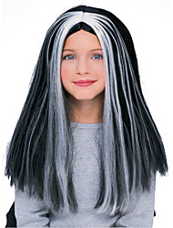 Cute WitchBlack & Silver 45cm Kids' Halloween Party Wig