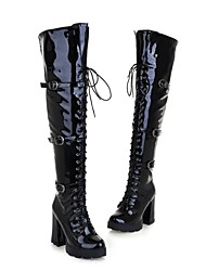 Zapatos de mujer - Tacón Robusto - Punta Redonda - Botas - Vestido - Semicuero - Negro / Rojo / Blanco