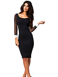 VICONE Women's Long Sleeve Contrast Color Round Collar Bodycon Slim Dresses