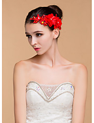 Women's Lace / Rhinestone Headpiece-Wedding Flowers Red