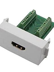n86-600k adaptador HDMI fêmea v1.4 soldadura sem suporte do painel de parede tomada módulo 3d - + verde