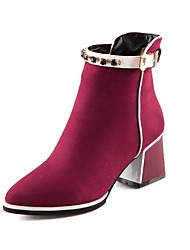 Women's Shoes Pointed Toe Chunky Heel Ankle Boots with Zipper More Colors available