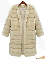 moda casual pura imitação cor casaco de pele quente das mulheres