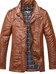 lazer moda casaco de couro do plutônio dos homens