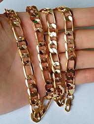8 milímetros ouro 18k masculina banhado colares cadeia Figaro de 22 polegadas