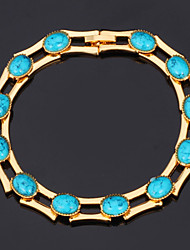 New High Quality Turquoise Stone Bracelet Bangle 18K Gold Platinum Plated Bangle Jewelry Gift for Women