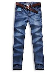 Männer 2014 neue Mode, mittelhohes Reißverschluss gewaschen gebleichtem kombinierten Körper lange Gerade Jeans