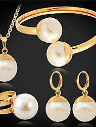 U7® Big Synthetic Pearls Imitation Pendant Earrings Bracelet Ring Set 18MM 55CM
