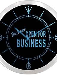 bienvenidos abierto para letrero de neón de negocios llevó reloj de pared